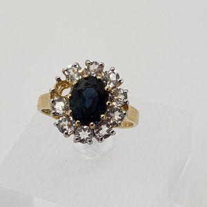 14K Yellow Gold Blue Spinel and White Topaz Ring